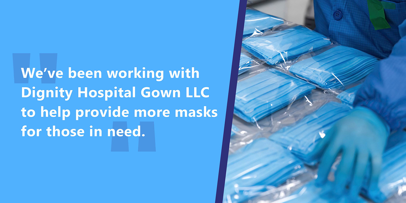 Masks being sorted into packages alongside a direct quote from the blog post.
