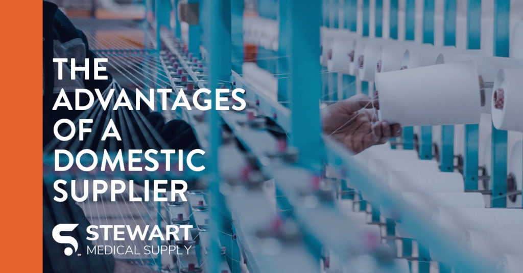 """Fabric manufacturing facility with the text, """"STEWART: The Advantages of a Domestic Supplier."""""""